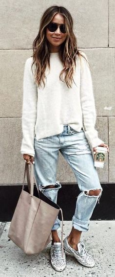 #sincerelyjules #spring #summer #besties |White Knit + Ripped Denim