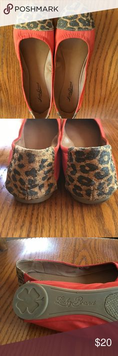 Lucky Brand flats Orange Lucky Brand flat shoes with leopard  accent. Size 8 narrow feet. Still in good condition except for the minor scuffs as shown in pictures.  They are comfy too. Lucky Brand Shoes Flats & Loafers