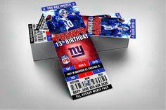New York Giants Party Invitation, Sports Tickets Invites, Football Birthday Theme Party Template by sportsinvites Football Theme Birthday, Blue Birthday Parties, Birthday Party At Home, Kids Birthday Themes, Football Themes, Football Invitations, Party Invitations, Invites, New York Giants Football