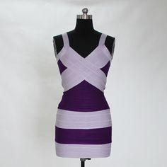 Low Cut Contrast Bandage Dress-Victoria Beckhem Style Code: 08357 US$89.00