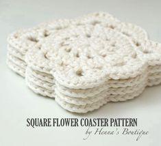 Crochet Pattern  Square Flower Coasters  PDF by hennasboutique, $4.00 Crochet Round, Crochet Home, Crochet Gifts, Crochet Doilies, Crochet Flowers, Mandala Crochet, Crochet Circles, Crochet Potholders, Crochet Granny