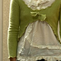"""Cashmere Topper in Pistachio - Womens One of a Kind Upcycled Sweater Bust Size 34"""". $37.00, via Etsy."""