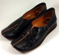 AUDLEY LONDON Shoes ~ Women's Black & Orange Leather Sport Slides ~ US 8.5 M #Audley #Slides