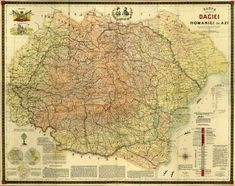 Scholastic Map of Greater Dacia and Romania by Grigore Bejan, Cartographic Service of the Army, 1919 - Source: Library of the Romanian Academy, from the collection of Nicolae Iorga Historical Maps, Geology, Vintage World Maps, Prints, Mystery, Army, Education, Movies, Collection