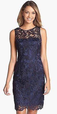 ADRIANNA PAPELL 041863800 Navy Blue Lace Cocktail Dress Size 8 10 12 14 16 NWT