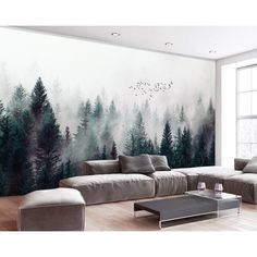 Dark Forest Wallpaper Misty Jungle Wall Mural Landscape Wall Print Rustic Home Decor Cafe Design Living Room Bedroom Dark Forest Wallpaper Misty Jungle Wall Mural Landscape Wall Print Rustic Home Decor Cafe Design Liv Forest Landscape, Landscape Walls, Landscape Wallpaper, Mountain Landscape, Garden Wall Designs, Vertical Garden Design, Vertical Gardens, Forest Wallpaper, Of Wallpaper