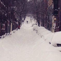 The Boston blizzard 2015: Snowboarding down Beacon Hill. @urbandata