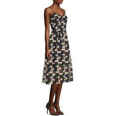 Shoshanna Floral Lace A-Line Dress ($440) ❤ liked on Polyvore featuring dresses, floral printed dress, v neck dress, a-line dresses, v neck a line dress and floral-print dresses