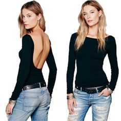 543083a0a4bdf3 Aliexpress.com : Buy Black Women's Slim Shirts Top Sexy Backless Tight  Shirts 2016 Best Deal O Neck Long Sleeved Shirt Russian Style from Reliable  blouse ...