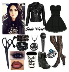 A fashion look from August 2015 featuring short lace dress, lambskin leather jackets and sheer stockings. Browse and shop related looks. Grunge Outfits, Cute Emo Outfits, Punk Outfits, Cosplay Outfits, Girl Outfits, Fashion Outfits, Jade West Style, Estilo Aria Montgomery, Victorious Cast