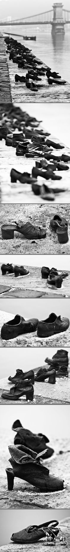 Gyula PAUER & Can Togay. Shoes on the Danube Promenade. A memorial created  on the bank of the Danube River in Budapest. 2005. It honors the Jews who were killed by fascist Arrow Cross militiamen in Budapest during WW II. They were ordered to take off their shoes, and were shot at the edge of the water.