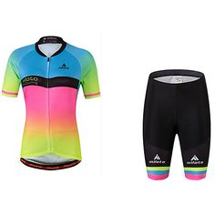06f911cce Miloto Women s Short Sleeve Cycling Jersey with Shorts - Rainbow Plus Size  Bike Jersey