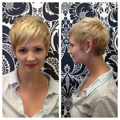 Multi-dimensional platinum pixie on Angie. Cut and color by Julie. Pixie Hairstyles, Pixie Haircut, Platinum Pixie, Pixie Cuts, Love Hair, Pixies, Cut And Color, Bobs, Short Hair