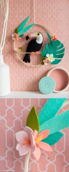 Handmade Home Decor DIY Wallart. Pattern and tutorial on www. Kids Crafts, Felt Crafts, Diy And Crafts, Decor Crafts, Mur Diy, Sewing Projects, Craft Projects, Sewing Tutorials, Felt Projects