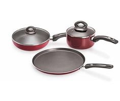 Eris Nonstick Combo Pack - 28cm Tawa, 24cm Deep Fry Pan And 16cm Sauce Pan With 2 Spout