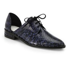 FREDA SALVADOR Snake-Embossed Leather Cutout Oxfords