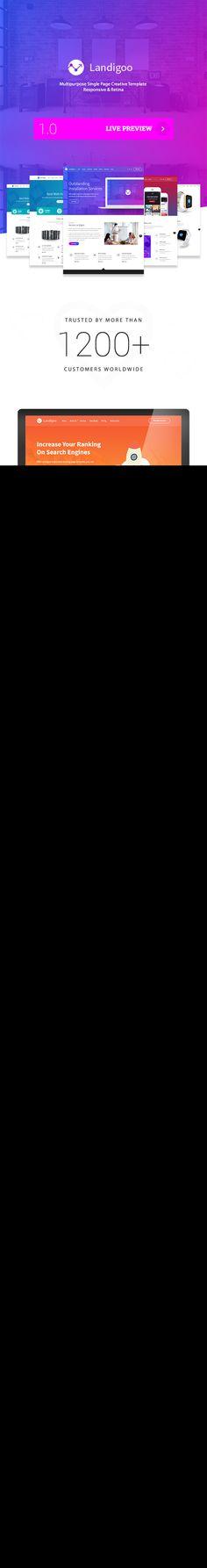 Landigoo - Multipurpose Single Page Creative WP Theme #wordpress • Download ➝ https://themeforest.net/item/landigoo-multipurpose-single-page-creative-wp-theme/19167944?ref=pxcr