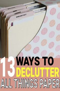 13 genius ways to declutter all things paper. I am definitely going to try them out! Organizing Paperwork, Clutter Organization, Home Office Organization, Declutter Your Home, Organizing Your Home, Organization Ideas, Organizing Tips, Organising, Decluttering Ideas