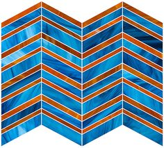 Our home design ideas perfect for your Denver Broncos-viewing spaces. Score!  DEVOTION COLLECTION TILE, echo pattern in a custom blend (transparent dark beige and Persian blue), Manufacturer: Oceanside Glasstile, Available at Decorative Materials, Denver Design District, $65/square foot retail