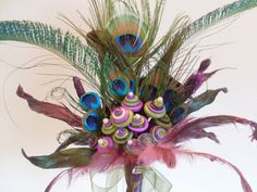 Peacock Feather Wedding Bouquet Alternative by angel9 on Etsy, $80.00
