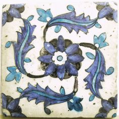 Islamic Tile: With rosette with saz leaves in swastika pattern. Made of cobalt, turquoise, black painted pottery. Islamic.  17thC. From Kütahya (?) (Asia, Turkey, Aegean Region (Turkey), Kütahya (province), Kütahya (city)).  British Museum Collection.