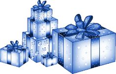 CHRISTMAS BLUE GIFTS CLIP ART