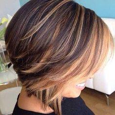 Balyaj Ideas for Short Hair Hair Highlights Bob Haircut For Girls, Haircut And Color, Girl Haircuts, Haircut Long, Reverse Bob Haircut, Choppy Haircuts, Stacked Haircuts, 2018 Haircuts, Layered Bob Hairstyles