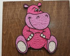 Crafted from StringArt - Cartoon character, Hippo, Marmotreto rosado ***FREE SHIPPING***