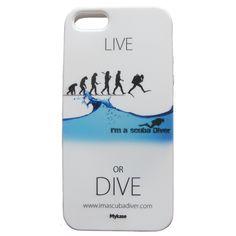 """Cover Per telefono IPhone 5 , per tutti gli amanti della subacquea, ditelo con una cover della linea """"Live or Dive"""" di I'm a scuba Diver. http://www.imascubadiver.com/it/320-shop/2-Cover+iphone+5.html"""