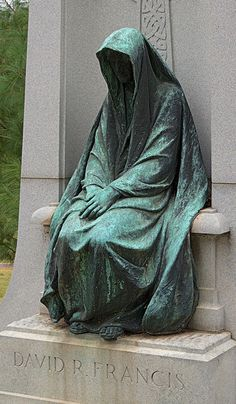 Bellefontaine Cemetery, in Saint Louis, Missouri, USA - Mourning Angel statue at David Rowland Francis grave Cemetery Statues, Cemetery Headstones, Old Cemeteries, Cemetery Art, Angel Statues, Graveyards, Sculpture Art, Sculptures, Spooky Places