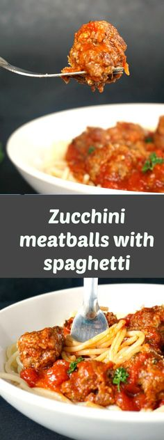 My Gorgeous Recipes Best Spaghetti with Meatballs Recipe – Zucchini beef meatballs with spaghetti in a rich tomato sauce, comfort food at its best. A great family recipe to please a crowd. Italian Pasta Recipes, Italian Dishes, Dinner Dishes, Dinner Recipes, Dinner Ideas, Easy Weeknight Meals, Easy Meals, Best Spaghetti, Spaghetti And Meatballs