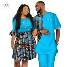 Image of African Men and Women Ankara print couple dress, african clothes for boyfriend,girlfriend wedding Dress and men suit o-neck men two piece set dashiki short sleeve cloth plus Couples African Outfits, Couple Outfits, African Attire, African Wear, African Dress, African Clothes, African Style, African Fashion Designers, African Men Fashion