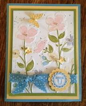 handmade card: Thank U pretty coloring of the Wildflower Meadow background stamp ... Stampin' Up!
