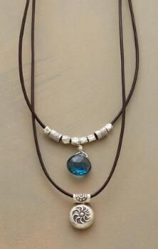 Have a blue-sky day whatever the weather with our Thai silver bead and topaz necklace.