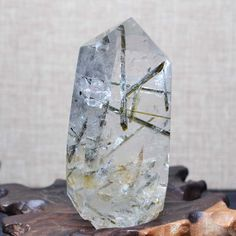 "3.54"" Rare Natural Green Rutilated Quartz Tower/Green Tourmaline Included Crystal Point/crystal specimen/crystal energy-90*40*28mm 155g by ElfOfStones on Etsy"