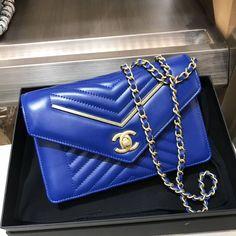 b00005c973d7 Chanel Lambskin Gold Metal Chevron Wallet on Chain Bag A84362 Royal Blue  2017 Chanel Bag Sale