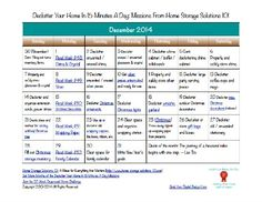 Here's the December 2014 declutter calendar with a daily 15 minute decluttering and organizing mission for each day of the month. Also includes a printable calendar.