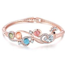 Jewels Galaxy Limited Edition CZ & Onyx Floral Designed 18K Rose Gold Plated Bracelet