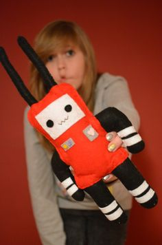 Red robot/space bunny felt plush monster by ScribbleBear on Etsy