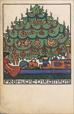 Merry Christmas: Josef Diveky (Hungarian, 1887–1951) Published by Wiener Werkstätte, ca. 1907/8–1914.    Color lithograph.