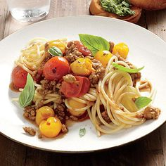 Pasta with Roasted-Tomato Meat Sauce...   For a fresh take on weeknight spaghetti, serve your family Pasta with Roasted-Tomato Meat Sauce. Don't skip the anchovies—they add a...