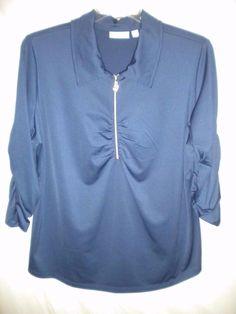 Susan Graver Plus Size 2X 3/4 Cinched Sleeve Blue Stretch Women Blouse Top Shirt #SusanGraver #Blouse #Versatile
