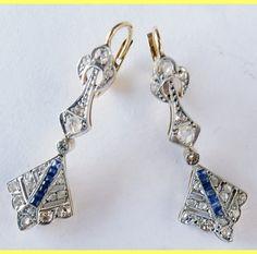 Antique Art Deco Earrings Diamond Sapphire 18k Gold French Ear Pendants (#5683) by BestOldJewelry on Etsy https://www.etsy.com/listing/222715905/antique-art-deco-earrings-diamond