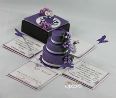 Purple & White Quinceanera Exploding Box Invitation
