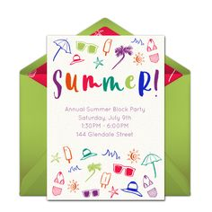 We love this summer-inspired free party invitation design for any warm weather party! The hand-drawn illustrations are so unique, and awesome for summer BBQs, beach parties, pool parties, and more. #handmade