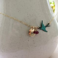 Birthstone Personalized Necklace Gold Filled Hand by lizix26, $28.00