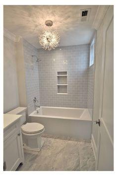 Mini Bathtub, Bathtub Shower Combo, Shower With Tub, Bathroom Tub Shower, Tile Around Bathtub, Bathroom Faucets, Grey Tile Shower, Built In Bathtub, Shower Over Bath
