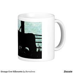 Grunge Cow Silhouette Classic White Coffee Mug