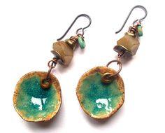 """Rustic, Earthy, Bohemian, Dangle Earrings, HappyFish Ceramics, Pools of Turquoise, Natural Stones, Niobium Ear Wires, 2.5"""" long"""