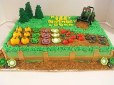 garden and tractor cake Barney Birthday, Farm Birthday, Birthday Cakes, Birthday Ideas, Fancy Cakes, Cute Cakes, Fall Carnival, Truck Cakes, Farm Cake